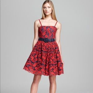 Alice and Olivia | red floral embroidered dress